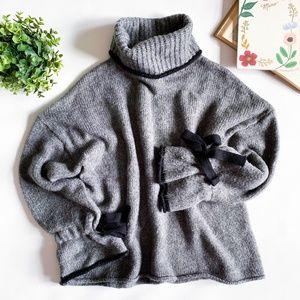 Zara Grey Turtle Neck Bow Tie Sleeve Sweater